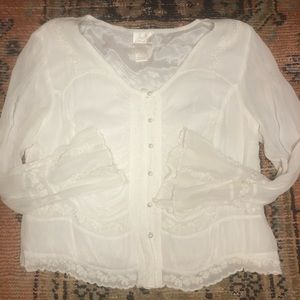 Soft surround Antique white blouse with lace/beads